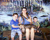 My children and I pretend to be brave and pose with the Ball python and American Alligator.